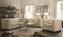 2 pc cairns collection transitional style oatmeal easy care linen bland fabric upholstered sofa and love seat with tufted back and sides