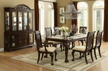 7 pc norwich collection warm cherry finish wood dining table set with padded seats and carved backs