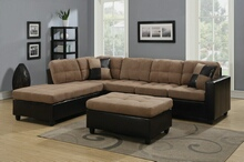 2 pc mallory collection 2 tone tan microfiber fabric and leather like vinyl upholstered sectional sofa with reversible chaise