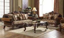 Acme 50655-56 2 pc Astoria grand trimm jardena cherry oak finish wood fabric sofa and love seat set