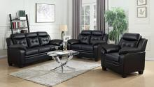 506551-52 2 pc Finley black faux leather sofa and love seat set with overstuffed arms