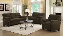 506571-72 2 pc Clementine brown chenille fabric sofa and love seat set