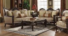 Acme 50685-86 2 pc Astoria grand frederick devayne walnut finish wood fabric sofa and love seat set