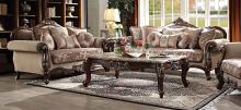 Acme 50690-91 2 pc Astoria grand nebel mehadi walnut finish wood velvet fabric sofa and love seat set
