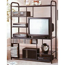 "48"" Wide large Black metal frame entertainment center"