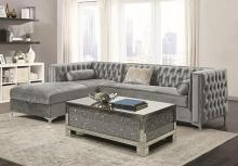 508280 2 pc Everly quinn charlemont orchid buelow bellaire silver velvet fabric sectional sofa set