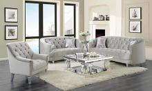 508461 2 pc Wildon home elliston avonlea grey velvet fabric sofa and love seat set