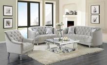 508461 2 pc Wildon home elliston avonlea grey velvet fabric sofa and love seat set