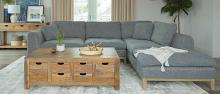 508857 2 pc Darby home co persia grey woven fabric sectional sofa with wood trim base