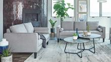 509051 2 pc Bronx ivy avianna lennox charcoal linen like fabric sofa and love seat set