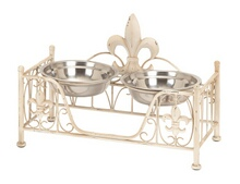 Metal Pet Bowl with Intricate Detailing in Soft Cream Shade