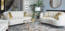 509161 2 pc Wildon home elliston avonlea off white velvet fabric sofa and love seat set