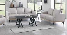 509181 2 pc Bronx ivy avianna kester beige faux linen fabric sofa and love seat set