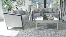 509201 2 pc Strick & Bolton la rose whitfield grey chenille fabric sofa and love seat set