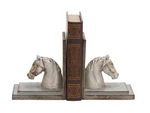 A Pair of Poly Stone Horse Head with Wooden Bookend