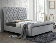 5103Q Kate grey fabric upholstered button tufted queen bed set