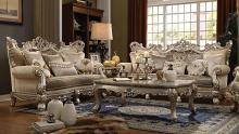 Acme 51040-41 2 pc Astoria grand ewan ranita champagne finish wood fabric sofa and love seat set