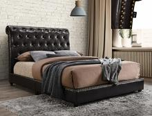 5104PU Willa arlos interiors janine dark leather like vinyl button tufted headboard queen bed