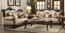Acme 51050-51 2 pc Astoria grand camren shalisa walnut finish wood fabric sofa and love seat set