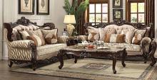 Acme 51050-51 2 pc Astoria grand camren shalisa walnut finish wood fabric sofa and love seat set