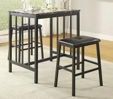 Homelegance 5106BK 3 pc Canora grey edgar black finish metal frame and faux marble top counter height dining table set