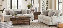 511094 2 pc Ebern designs abdon glenn light grey linen like fabric sofa and love seat set