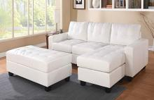 Acme 51210 2 pc Orren ellis autenberry lyssa white bonded leather match sectional sofa with reversible chaise