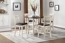 "5 pc Kiwi two tone white wash and dark cherry finish wood 42"" round drop leaf counter height dining table set"