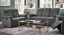 Acme 51815-16 2 pc Red barrel studio zahir treyton gray chenille fabric sofa and love seat set with recliner ends