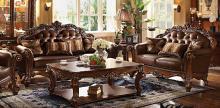 Acme 52001-02 2 pc Astoria grand amorsolo cherry finish wood brown faux leather sofa and love seat set