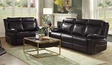 Acme 52050-51 2 pc Corra espresso faux leather sofa and love seat with recliner end