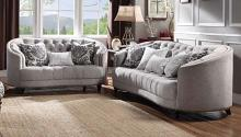 Acme 52060-61 2 pc World menagerie clarendon saira light gray fabric sofa and love seat set