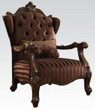 Acme 52082 Versailles cherry oak finish wood and brown velvet accent chair