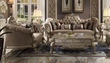 Acme 52090-91 2 pc Astoria grand westmont dresden gold patina finish wood bone velvet sofa and love seat set