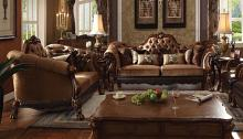 Acme 52095-96 2 pc Astoria grand westmont dresden cherry oak finish wood brown velvet sofa and love seat set