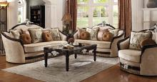 Acme 52110-11 2 pc Astoria grand mcclellan ernestine black finish wood and tan fabric sofa and love seat set