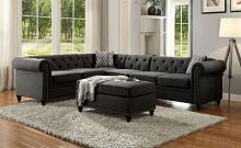Acme 52375 2 pc A&J Homes studio nicole aurelia II charcoal linen like fabric sectional sofa tufted backs