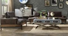 Acme 52475-77 2 pc Greyleigh pakswith silchester distressed chocolate top grain leather sofa and love seat set