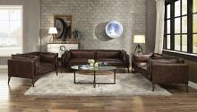 Acme 52480-81 2 pc 17 stories diep porchester distressed chocolate top grain leather sofa and love seat set