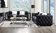 Acme 52525-26 Astoria Grand trislar black tufted velvet fabric and crystal trim accents sofa and love seat set