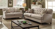 Acme 52580-81 2 pc Darby home co bayport alianza beige fabric sofa and love seat set