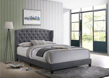 5266GY Willa arlos interiors rosemary gray fabric button tufted headboard queen bed