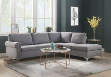 Acme 52755 2 pc Orren ellis elvin melvyn gray fabric sectional sofa with metal legs