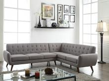 Acme 52765 2 pc essick light grey linen fabric sectional sofa