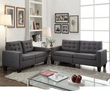 Acme 52770-71 2 pc earsom gray linen fabric tufted backs sofa and love seat set