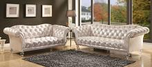 Acme 52780-81 2 pc Rosdorf park somona dixie metallic silver fabric with acrylic legs sofa and love seat