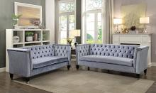 Acme 52785-86 2 pc Everly quinn lucca honor blue grey velvet fabric with tufted backs sofa and love seat