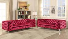Acme 52795-96 2 pc Everly quinn geter adam red velvet fabric with overall tufting sofa and love seat