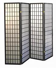 Asia Direct 530-4 4 panel black finish wood rice paper room divider shoji screen