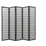 5 panel black finish room divider shoji screen